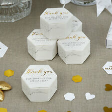 Scripted Marble Thank You Wedding Favour Gift Box Pack of 10