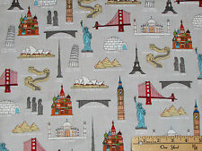 We Share One World IB International Landmarks Fabric by the 1/2 Yard #42716-X