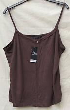 Bon Marche Dark Brown Strappy Cami Sleeveless Top Frill Neckline Detail 18 BNWT