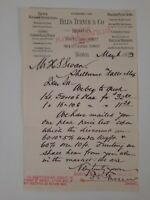 HILLS TURNER & CO Boston MA 1893 letterhead GLASS Windows Document LOCAL History