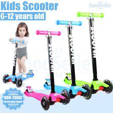 Kids 3 Flashing Wheels Kick Push Scooter Kickboard Adjustable Height Brake Child