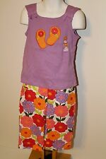 Gymboree Pretty Posies Girls Size 5T Flip Flop Top Shirt NWT Floral Capri Pants