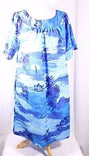 Size M Ocean Island Print Hawaiian Patio Aloha Dress  Blue VTG Fashions by LOKE
