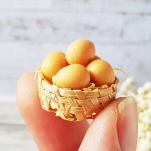 Dollhouse Miniatures Food Eggs in Bamboo Basket Groceries Set Supply Decoration