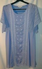 ENTRO Light Blue Rayon Embroidered Size Small Medium Above Knee Tunic Dress