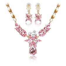 Fashion Zircon Necklace Earring Set Gold Plated Wedding Bridal Jewelry Sets