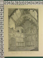 c1825 ANTIQUE PRINT ~ CANYNGES CHAPEL MASONIC HALL REDCLIFF STREET ~