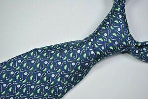 VINEYARD VINES Tie MADE IN USA 100%Silk Fishing Hook Pattern Blue Color L58 W3.9