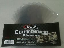 30 BCW Regular Dollar Bill Currency Sleeves - Money Holders- Protectors - New