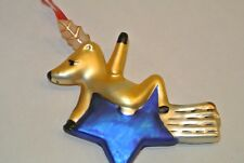 Pottery Barn COMET Reindeer Blown Glass Christmas Ornament Blue Star gold trail