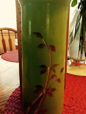 FENTON ART GLASS BAMBOO WITH DRAGONFLY GORGEOUS GREEN VASE! SIGNED! NEW!