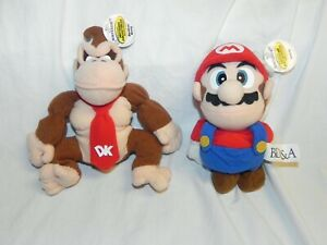 "1997 Vintage BD&A N64 Nintendo 64 Bean Bag Plush Mario & Donkey Kong 6"" Plushes"