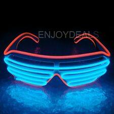 El Wire Neon LED Light Up Shutter Shaped Glasses for Costume Party Red+Blue