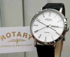 ROTARY Windsor mens watch Day&Date Black Leather Lightweight RRP £210 Boxed (R51