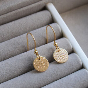 Small Gold Disc Drop Earrings - Textured Coin Circle Minimal Minimalist Dangle