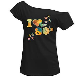 Womens I Love The 80s Crystal Style Print Off Shoulder 1980 Hen Night Party 7855