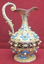 Belgian Gilt Sterling Silver Enamel Turquoise Pearl Jug Magnificent