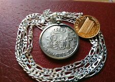 """1816 Colonial Spanish 2 reale .896 Silver Pendant 28"""" Italian Made Silver Chain"""