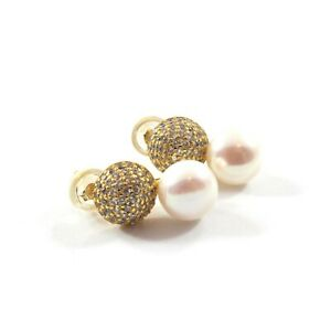 White Freshwater Cultured Pearl Stud Earrings with Sterling Silver 7.5-8.0mm