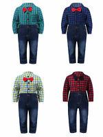 Newborn Intant Baby Boy Gentleman Romper Jeans Pants Tops Jumpsuit Outfits