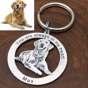 Personalised Dog Keychain Custom Keyring Animal Photo Keychain Pet Lover Gift