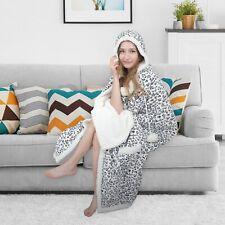Chic Home Leopard Snuggle Hoodie Animal Robe Sherpa Wearable Blanket Grey