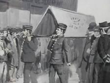 Gouache signée militaria chevaux peinture enterrement cercueil infanterie XIX