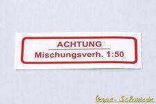 "VESPA Aufkleber Tank - Deutsch - ""1:50"" / Rot - V50 PK PX Rally GS PV ET3 GT 2%"