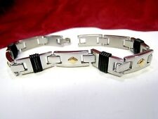 MEN'S STAINLESS STEEL AND 18K GOLD WITH BLACK RUBBER BRACELET ITALY 8.25 INCHES