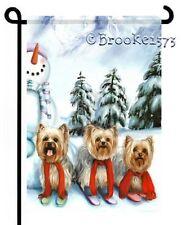 YORKIE SNOWMAN painting winter wonderland GARDEN FLAG Dog ART by Brooke Faulder
