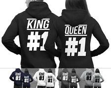 KING #1 und QUEEN #1 Pärchenpullis im SET Pärchen Pullover im Doppelpack NEU