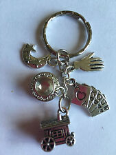 FORTUNE TELLER PSYCHIC Silver Tone key Ring bag Charm  Astrology Gypsy Caravan