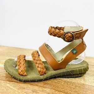 El Naturalista Womens Palma Sandals Orange Leather Braided Strappy Boho Size 37