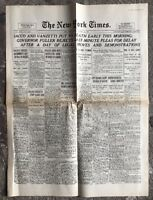 N145 La Une Du Journal The New York Times 23 Août 1927