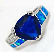 3CT Blue Sapphire & Australian Opal Inlay 925 Sterling Silver Ring Sz 8, ZR4