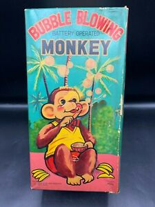 VINTAGE JAPAN ROCK VALLEY TOY- BUBBLE BLOWING MONKEY- IN BOX