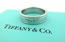 Tiffany & Co Platinum Flat Double Milgrain Wedding Band Ring 6mm Size 9 US