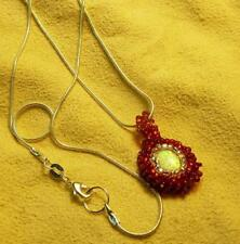 Red Beaded Fire Opal Snake Chain Necklace - Native American Indian
