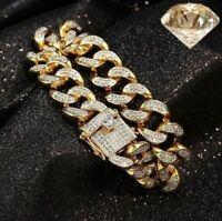 24 Karat Gold Diamant Armband Armreif Luxus Herren 24K Vergoldet Iced Out Neu