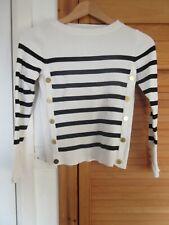 H&M strip breton top black/white with gold buttons size XS