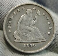 1840-O Seated Liberty Quarter 25 Cents No Drapery, Key Date Free Shipping (9970)