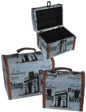 2 er Set Holzkoffer Truhe Aufbewahrungsbox Vintage Look Paris 2er Set Box Koffer