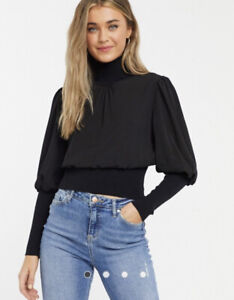 FRENCH CONNECTION LONG SLEEVE BALLOON SLEEVE KNIT TOP BLACK SMALL BNWT