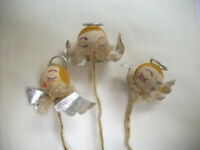 3 Vintage Christmas  angels for corsages picks decor