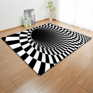 Optical Illusion Grid 3D Effect Small Large Long Floor Carpet Area Rugs
