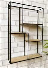 Rectangle Wall Unit Retro Wood Industrial Style Metal Shelf Rack Storage Black