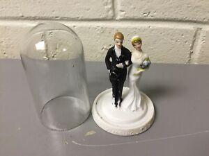 "ANTIQUE VTG FLAPPER 20'S 30'S WEDDING CAKE TOPPER UNDER GLASS 3 1/2"" TALL"