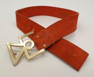 Vintage Leather Waist Belt 28 Suede Petite Orange