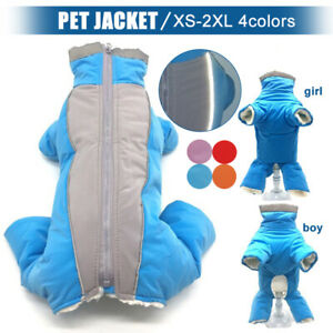 Pet Dog Clothes Winter Reflective Fleece Padded Jacket Coat Jumpsuit Waterproof