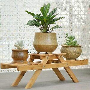 Flower Rack Holder Solid Wooden Floor Multi-Layer Folding Shelf Plant Pot Stand